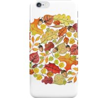 Circle with watercolor autumn leaves iPhone Case/Skin