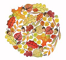 Circle with watercolor autumn leaves by Tatiakost