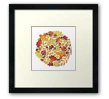 Circle with watercolor autumn leaves Framed Print