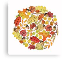 Circle with watercolor autumn leaves Canvas Print