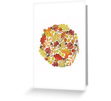 Circle with watercolor autumn leaves Greeting Card