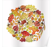 Circle with watercolor autumn leaves Poster