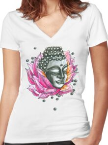 Decap Lotus Buddha (Rerelease) Women's Fitted V-Neck T-Shirt