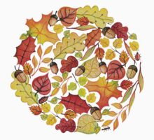 Circle with watercolor autumn leaves Kids Clothes