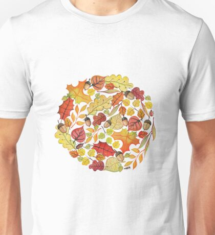 Circle with watercolor autumn leaves Unisex T-Shirt