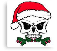 Christmas mistletoe skull  Canvas Print