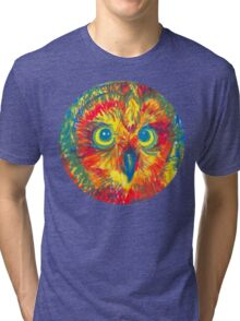 primary color owl Tri-blend T-Shirt
