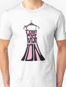 Silhouette of  woman dress from words I love Fashion T-Shirt