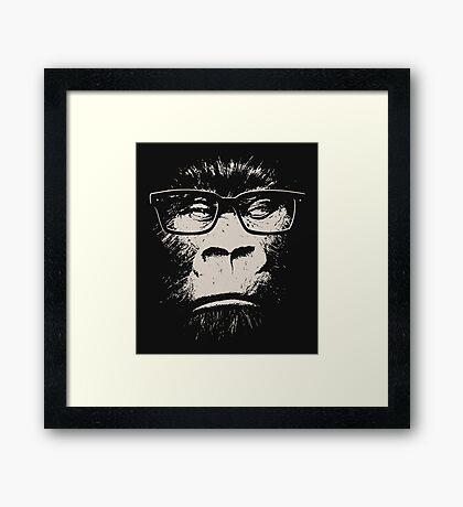 Hipster Gorilla With Glasses Framed Print