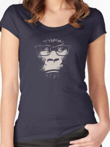 Hipster Gorilla With Glasses Women's Fitted Scoop T-Shirt