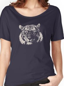 Hipster Tiger With Glasses Women's Relaxed Fit T-Shirt