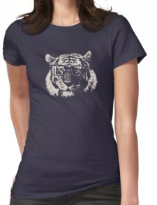 Hipster Tiger With Glasses Womens Fitted T-Shirt