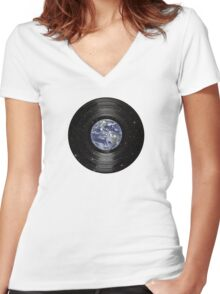 Earth In Space Vinyl LP Record Women's Fitted V-Neck T-Shirt