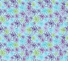 Cherry Flowers background in cool colours by Tatiakost