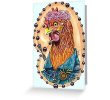 red fowl with flower crown and black fork rosary Greeting Card