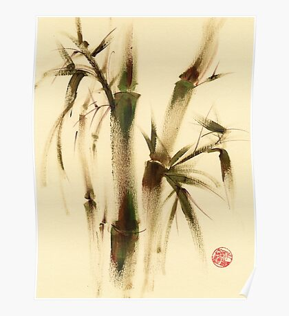"""Awareness"" Sumi-e bamboo painting on paper Poster"