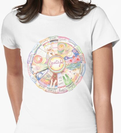 Grateful Mandala Womens Fitted T-Shirt