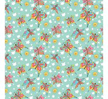 Fun spattern with butterflies,sun, clouds in Doodles Photographic Print