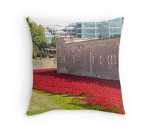 Ceramic poppies at the Tower of London Throw Pillow
