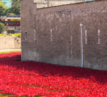 Ceramic poppies at the Tower of London Sticker