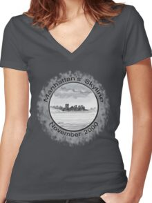 New York City skyline in November 2000 from the Staten Island Ferry.* Women's Fitted V-Neck T-Shirt