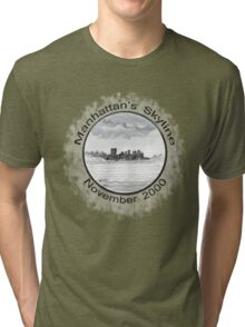 New York City skyline in November 2000 from the Staten Island Ferry.* Tri-blend T-Shirt