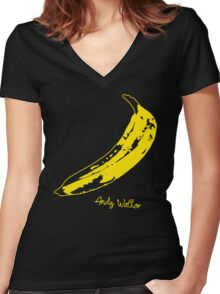 Retro Velvet Underground Andy Warhol Banana Rock Black T Shirt Sz S M L XL Women's Fitted V-Neck T-Shirt