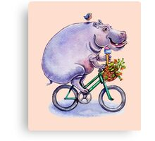 hippo on bicycle with icecream Canvas Print