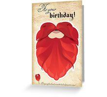 Happy birthday fake beard cutout mask birthday card red beard Greeting Card