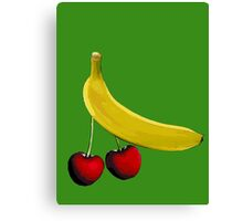 Funny banana and dangly cherries Canvas Print
