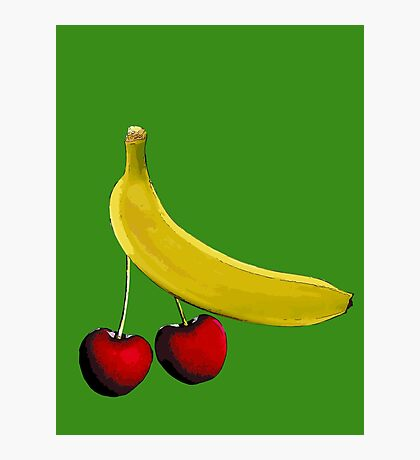 Funny banana and dangly cherries Photographic Print