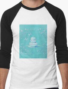 Blue and white wedding cake Men's Baseball ¾ T-Shirt