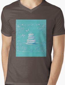 Blue and white wedding cake Mens V-Neck T-Shirt