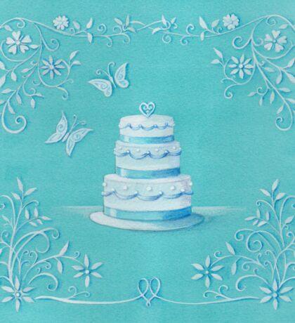 Blue and white wedding cake Sticker