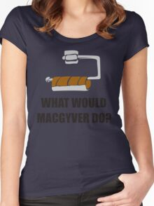 WHAT WOULD MACGYVER DO TSHIRT Funny 80s TV Show TEE Dean Richard Anderson Cool Women's Fitted Scoop T-Shirt