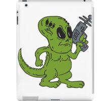 Alien Dinosaur Holding Ray Gun Cartoon iPad Case/Skin