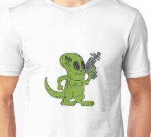 Alien Dinosaur Holding Ray Gun Cartoon Unisex T-Shirt