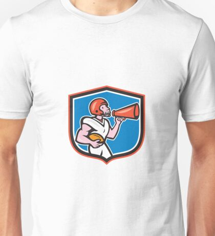 American Football Quarterback Bullhorn Shield Cartoon Unisex T-Shirt
