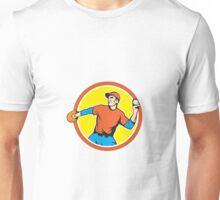 Baseball Pitcher Outfielder Throwing Ball Cartoon Unisex T-Shirt