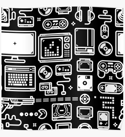 Retro Gamer Video Game Consoles, PC's, Controllers, Joysticks and Gamepads Poster