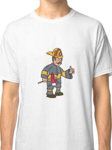 Fireman Firefighter Axe Thumbs Up Cartoon Classic T-Shirt