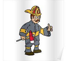 Fireman Firefighter Axe Thumbs Up Cartoon Poster