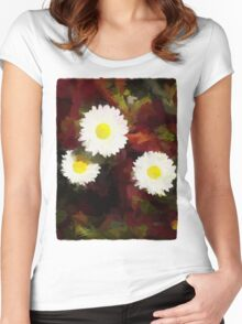 Three Daisies on Red Grass Women's Fitted Scoop T-Shirt
