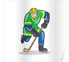 Ice Hockey Player With Stick Cartoon Poster