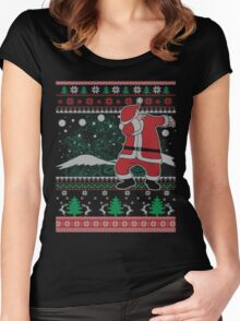 Dabbing Santa Ugly Christmas Holiday Family Snow Vacation Gift Women's Fitted Scoop T-Shirt