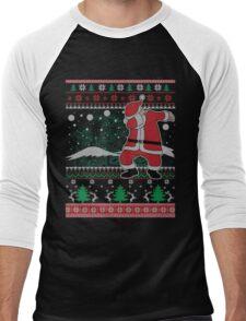 Dabbing Santa Ugly Christmas Holiday Family Snow Vacation Gift Men's Baseball ¾ T-Shirt