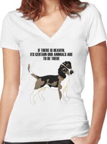 Beagle standing Women's Fitted V-Neck T-Shirt
