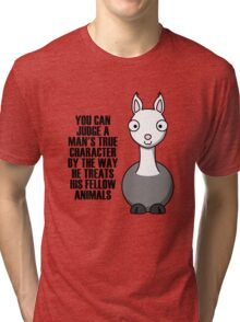Cartoon Llama Tri-blend T-Shirt