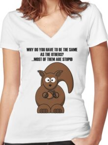 Cartoon Squirrel Women's Fitted V-Neck T-Shirt