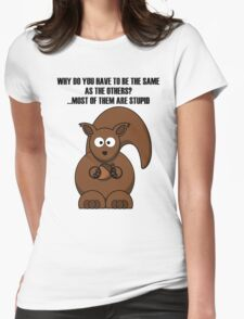 Cartoon Squirrel Womens Fitted T-Shirt